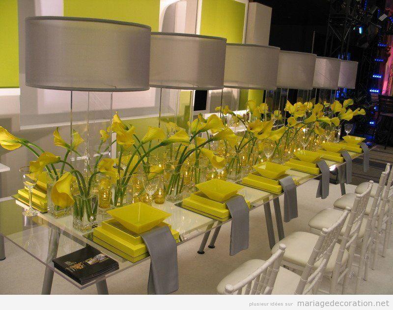Décoration table mariage, moderne, jaune et gris