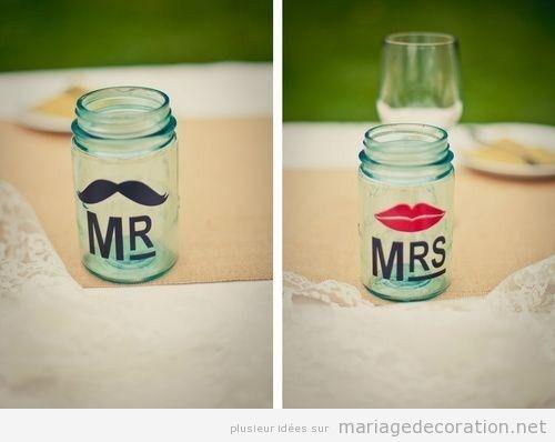 Pot de verre Mr and Mrs pour décorer un mariage