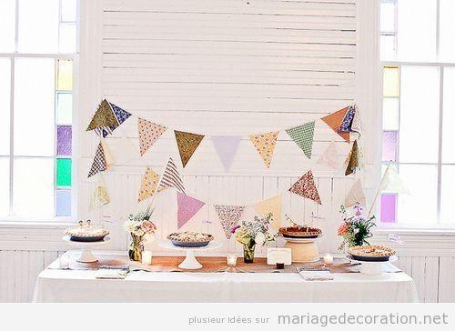 Déco table à desserts mariage avec guirlande fanions