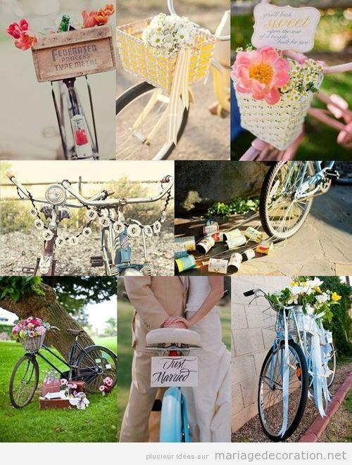 Décoration mariage original, vélos anciennes et vintages