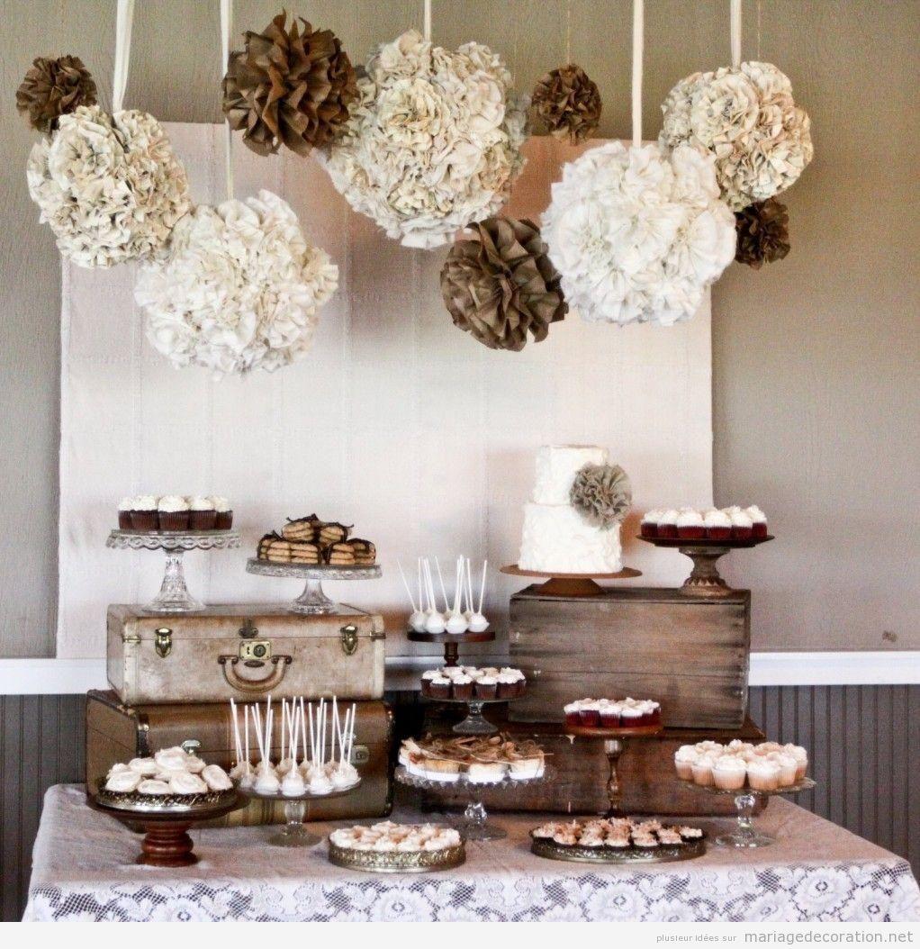 Décoration table à desserts style vintage en marron et beige