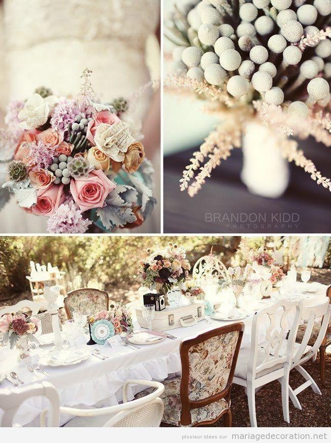 Idees pour décorer un mariage à plain air, fleurs style vintage
