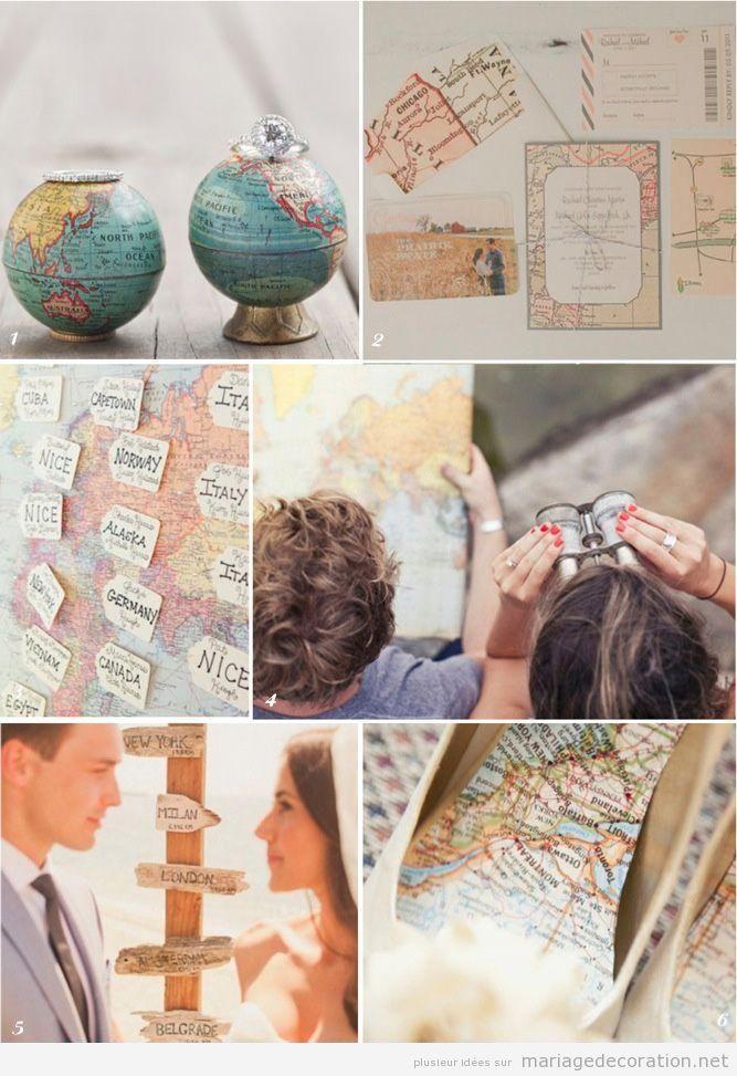 Mariage decoré avec le thème voyages