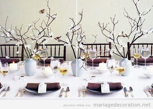 centre de table decor avec des branches s ches et fleures blanches d coration. Black Bedroom Furniture Sets. Home Design Ideas