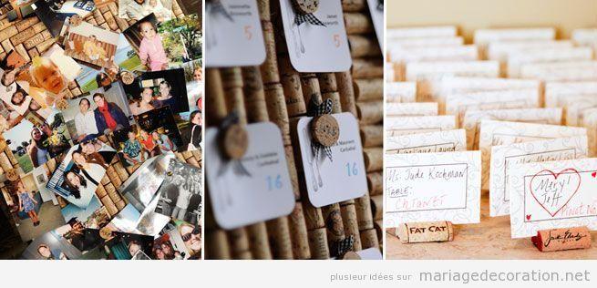 Détail décoration mariage rustique avec bouchons