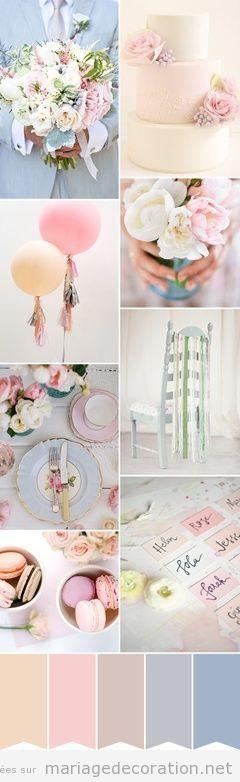 Détails déco mariage en couleurs pastel, style vintage