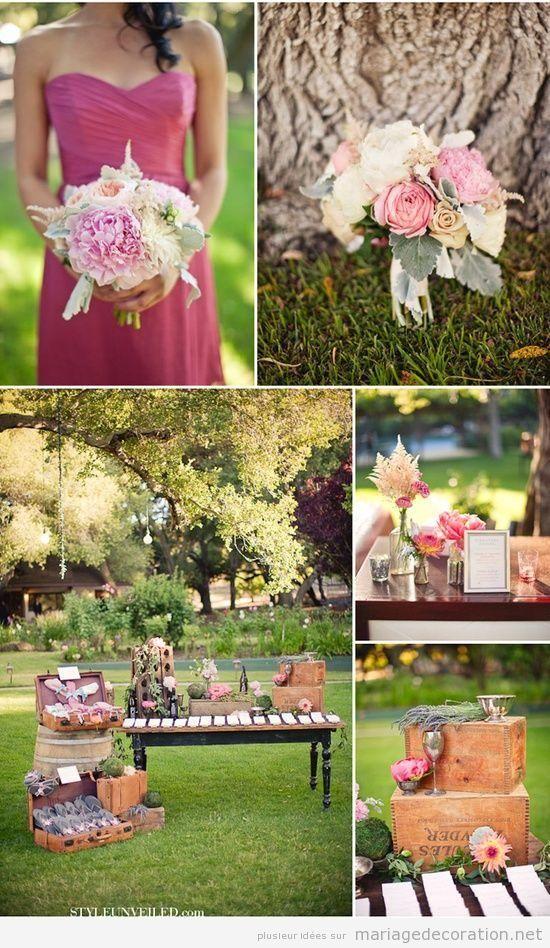 Décoration mariage au jardin, style vintage