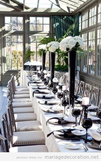 Décoration salle de mariage en blanc et noir