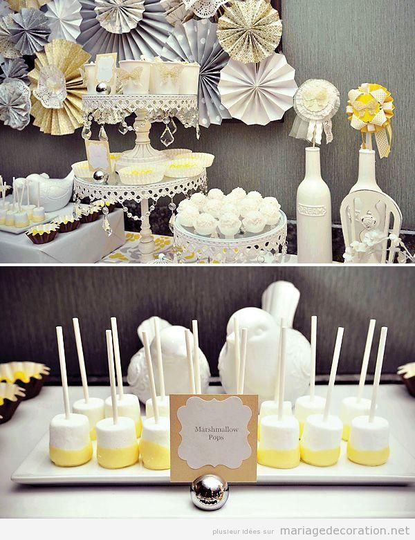 table dessert en beige jaune et gris d coration mariaged coration mariage. Black Bedroom Furniture Sets. Home Design Ideas