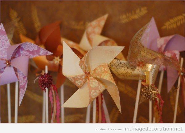 Déco mariage pas cher, moulin à vent en papier