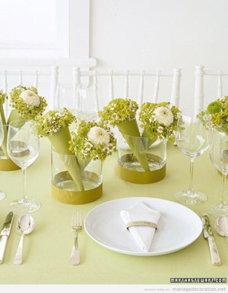 Déco mariage, moderne et minimaliste en vert et blanc