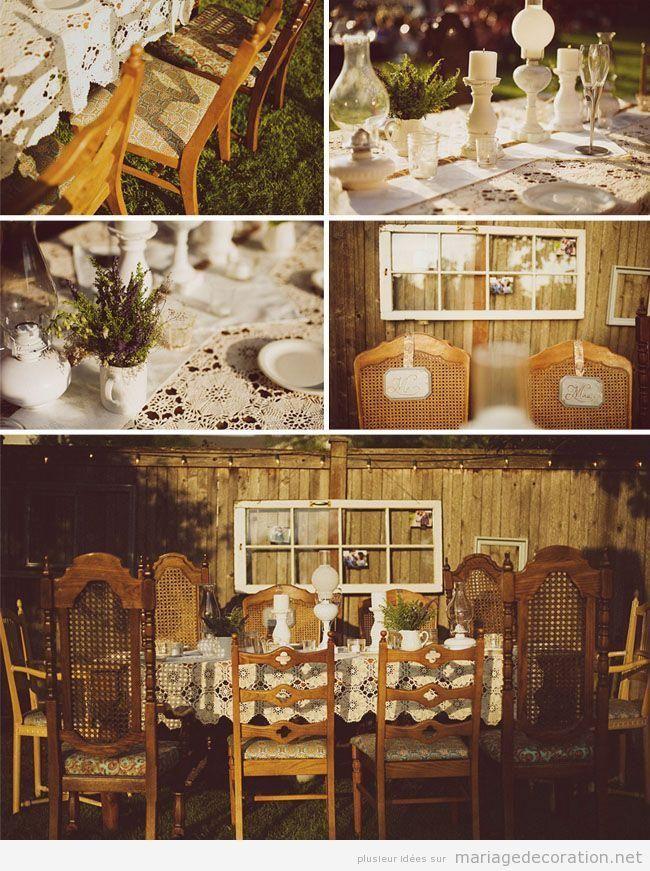 Mariage au jardin ou cour, style vintage