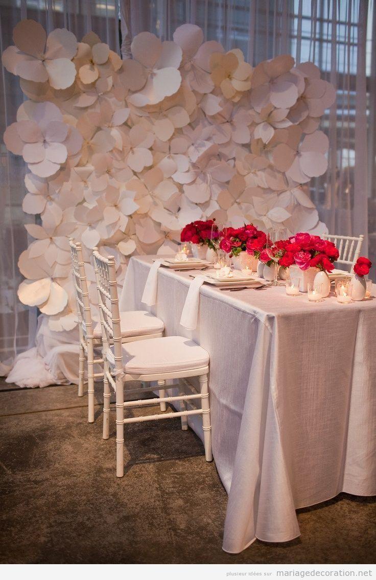 Mur d'une salle de mariage decoré avec des pleurs en papier