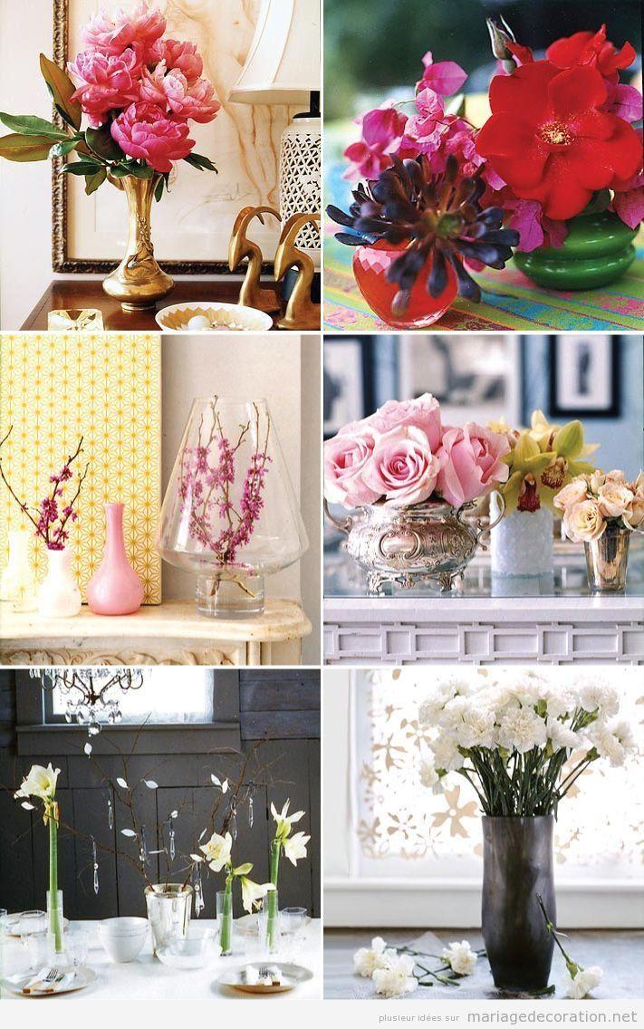 Vases vintage et fleurs pour réaliser centre de tables, mariage