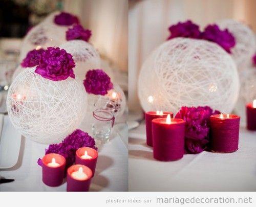 Idées déco centre table mariage avec des globes en fil et bougies