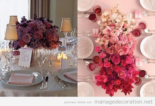 Décoration centre de table avec des roses en violette