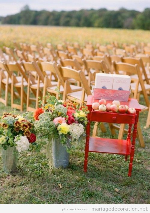 Idees pour décorer un mariage à plein air a l'automne
