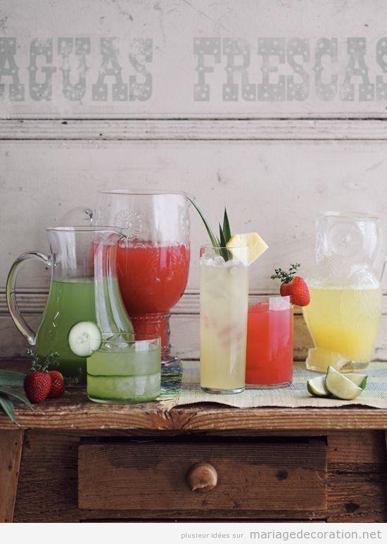 Idées pour décorer une table à boissons, mariage vintage et chic