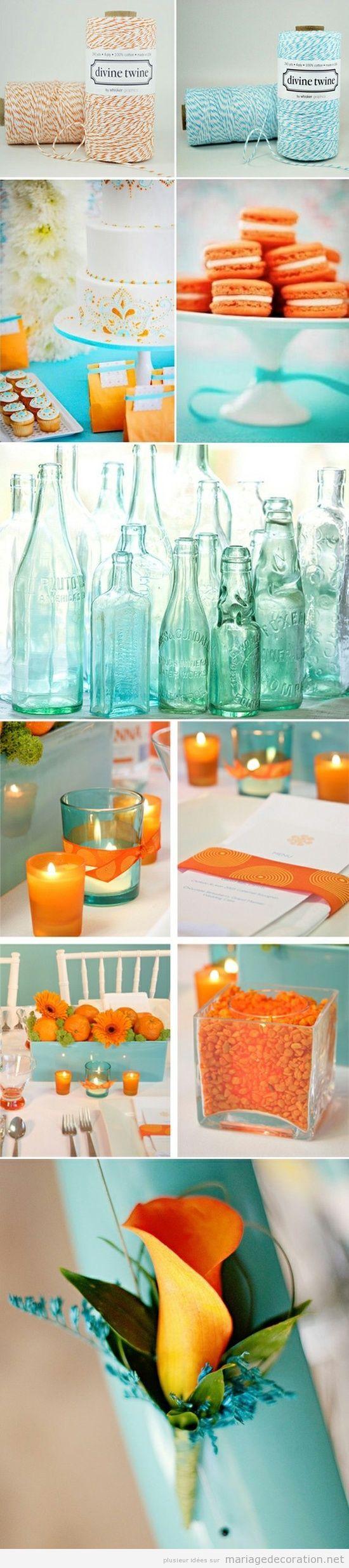 Idées pour décorer un mariage en turquoise et ambre