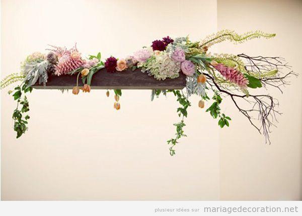 Idée déco mariage original, centre de table suspendu