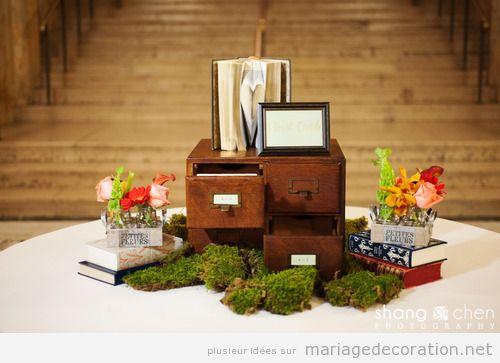 Centre de table mariage original realisé avec des livres et romans