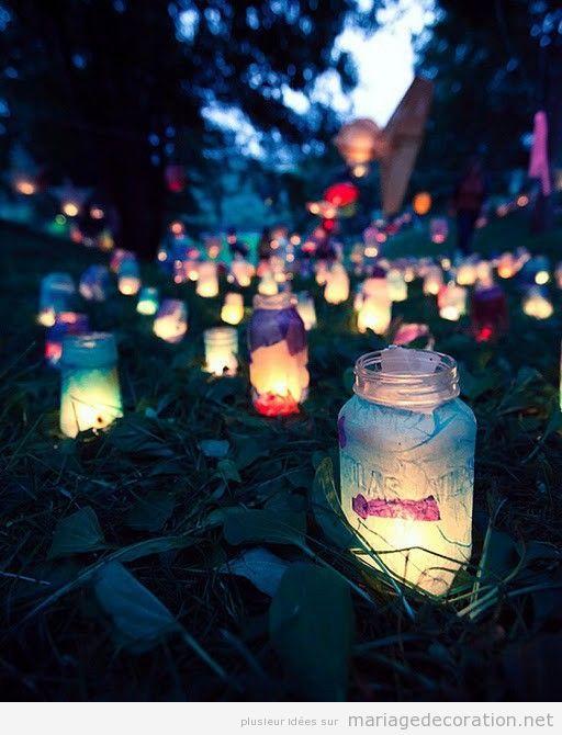 Idée originel pour décorer un mariage pas cher, verres et bougies à la nuit