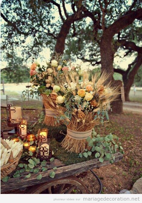 Idées pour décorer un mariage au jardin à l'automne