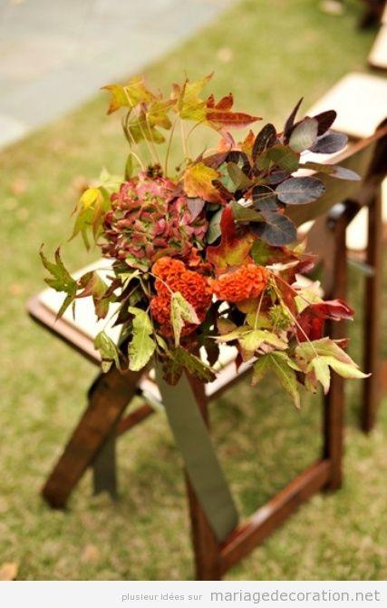 Idées pour décorer une chaise avec fleur sêches, mariage au jardin