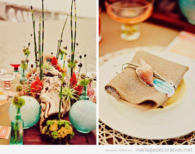 Idées pour décorer une table, mariage sur la plage