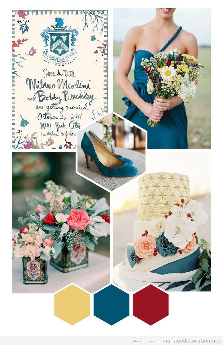 Idées decoration mariage vintage en ocre, bleu et grenate