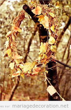 Couronne branches et fleurs seches. déco mariage automne