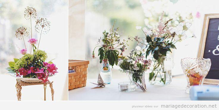 Déco centre table mariage naturel et bohème