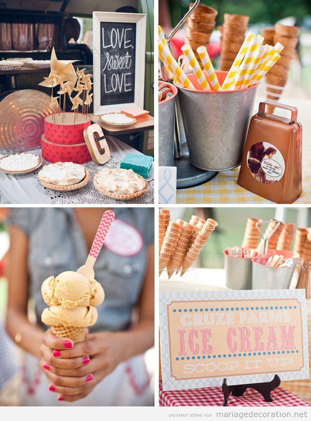 Idée original mariage, table desserts avec cornet à glace