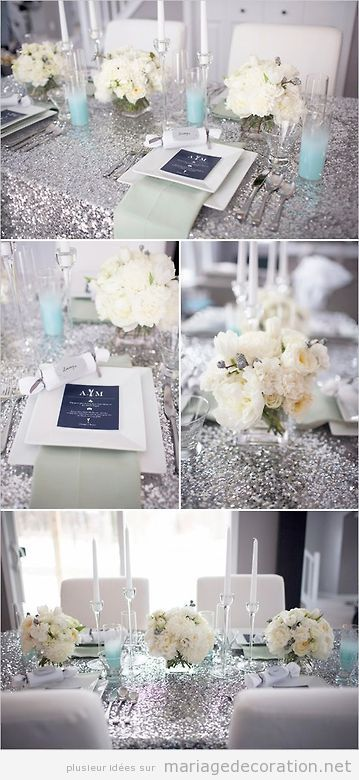Déco table mariage, nappe argenté en paillettes et fleures blanches