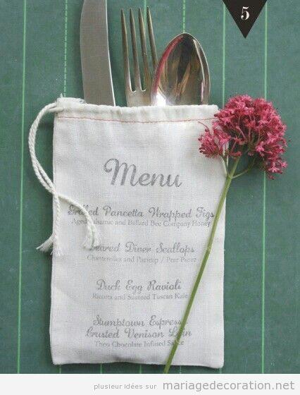 un petit sac avec le menu et les couverts table de mariage d coration mariage id es pour. Black Bedroom Furniture Sets. Home Design Ideas