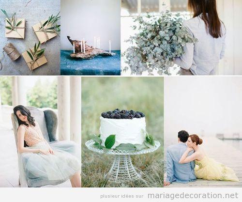 Décoration mariage avec feuilles des plantes comme l'olivier