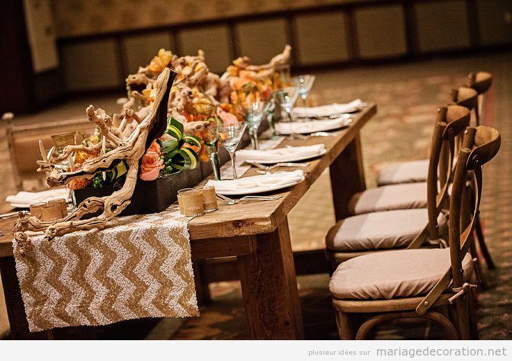 Déco salle et table de mariage, rustique and chic