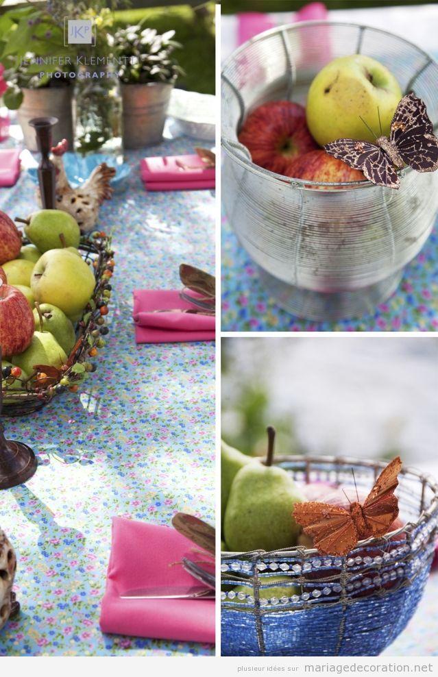 Déco centre de table, pommes et papillon