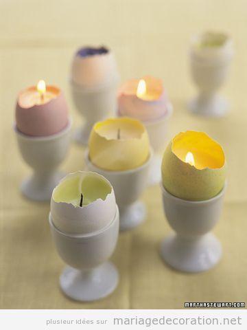 Idée DIY déco mariage pas cher, bougies fabriqués avec oeufs peints