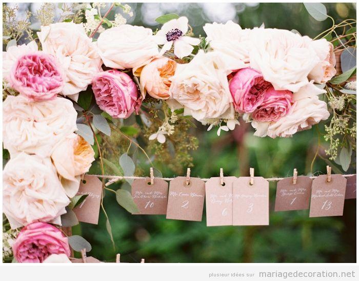Carte numéro table et invités, déco mariage vintage