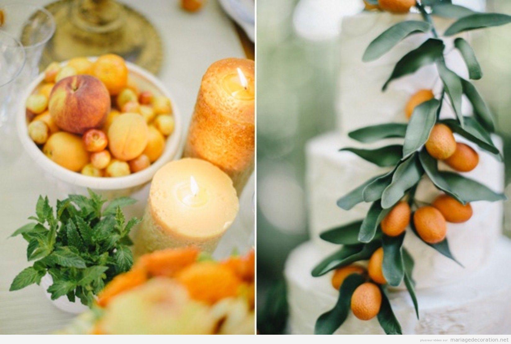 Décoration de mariage avec fruits