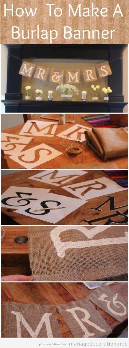 Déco mariage DIY, Banderole en toile de jute avec les noms des mariés