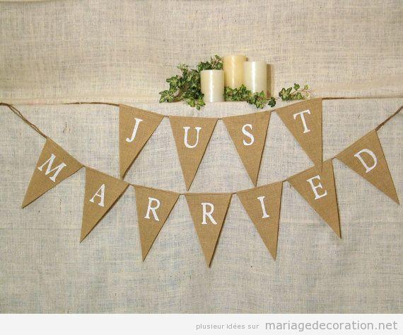 idée déco mariage pas cher, guirlande triangles juste mariés