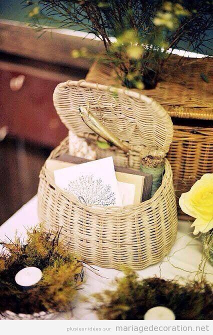 Idées Panier osier déco mariage