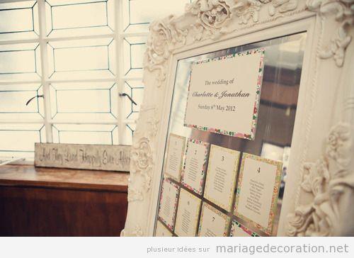 Idées déco mariage, cadre baroque avec les noms et tables des invités