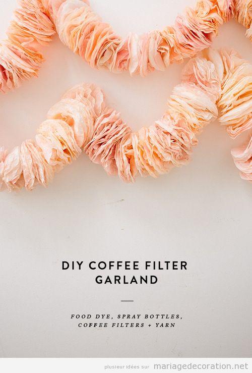Guirlande déco mariage DIY. filtre cafetiere