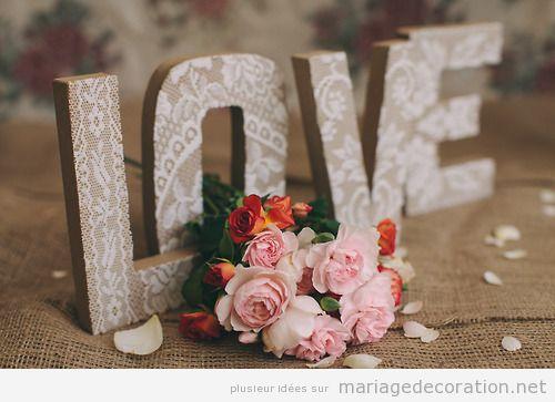 Déco mariage pas cher, mot amour en carton ou bois