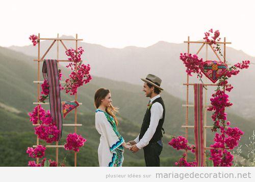 Idées décorer un mariage, autel hippie