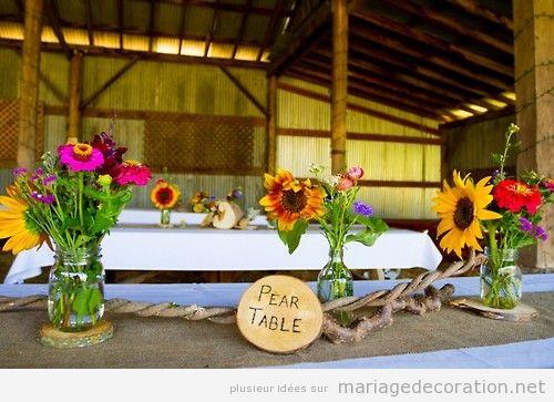 Idées décoration mariage à une grange, tournesol