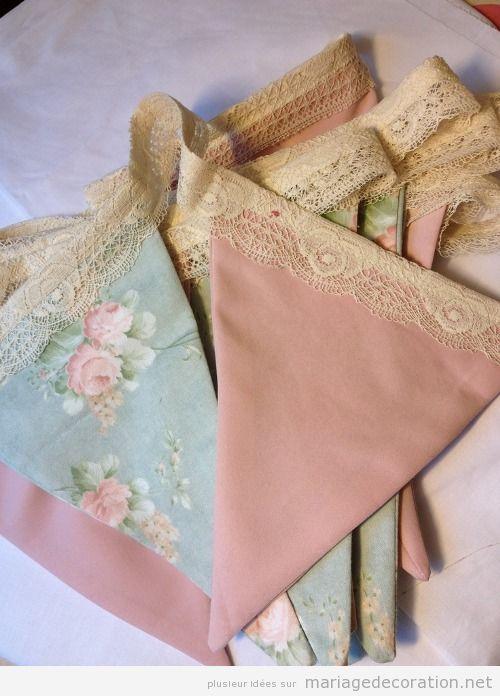 Déco mariage guirlande de triangle en tissu